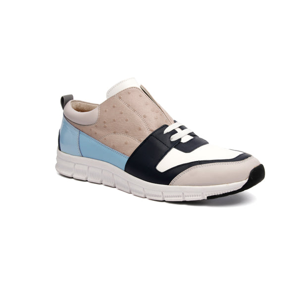Men's Midnight Rider White Gray Blue Leather Sneakers 01284-850 - ROYAL ELASTICS