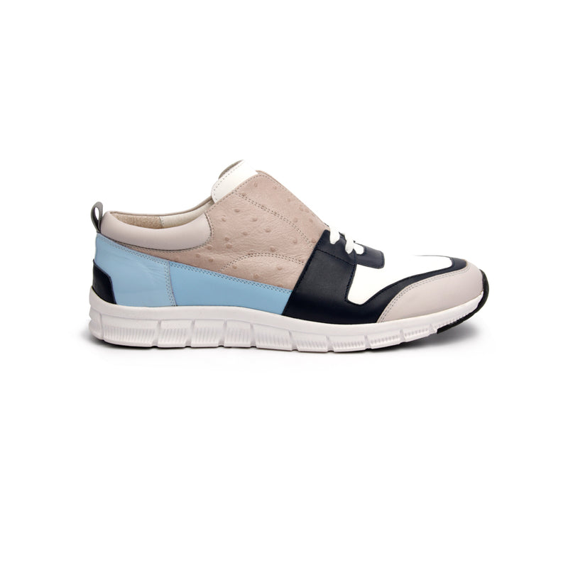 Men's Midnight Rider White Gray Blue Leather Sneakers
