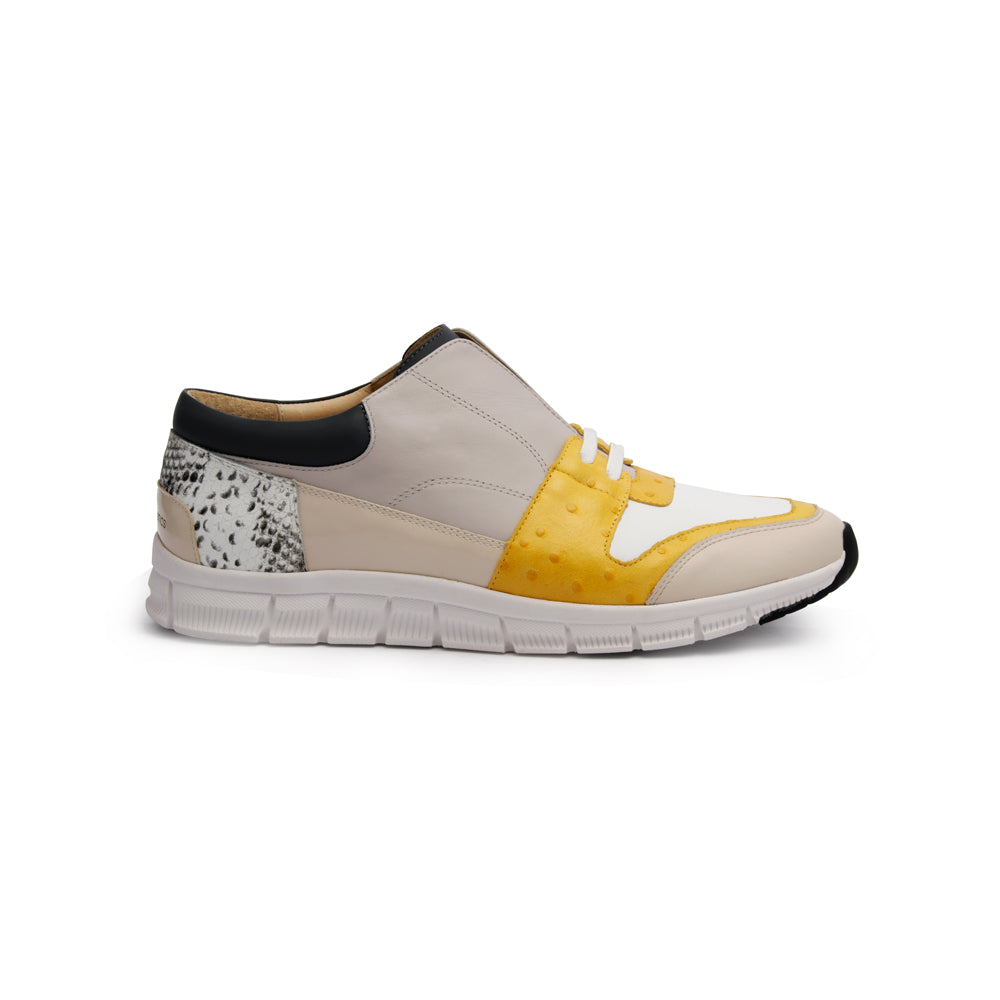 Men's Midnight Rider Yellow Gray White Leather Sneakers 01291-083 - ROYAL ELASTICS