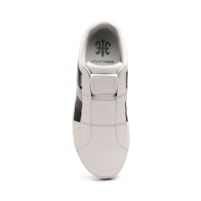 Men's Prince Albert White Gray Leather Sneakers 01483-080 - ROYAL ELASTICS