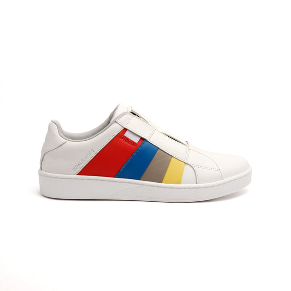 Men's Prince Albert White Red Blue Gray Yellow Leather Sneakers 01483-153