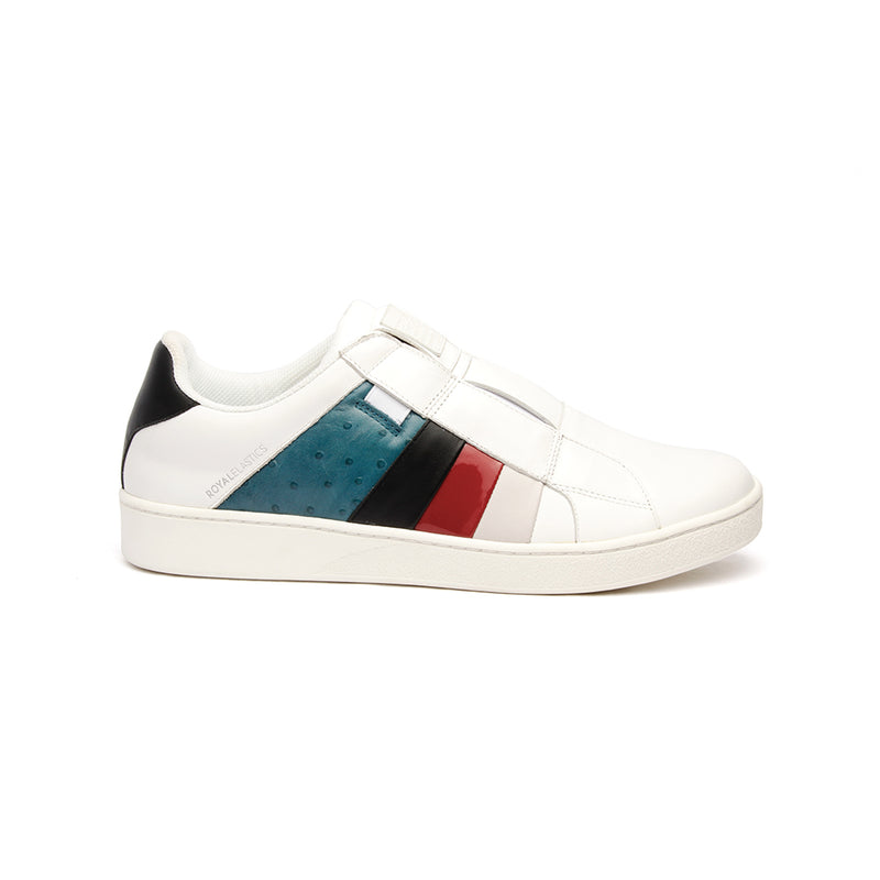 Women's Prince Albert White Teal Leather Sneakers - ROYAL ELASTICS