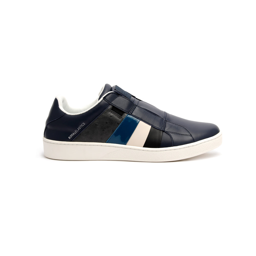 Men's Prince Albert Navy Leather Sneakers - ROYAL ELASTICS