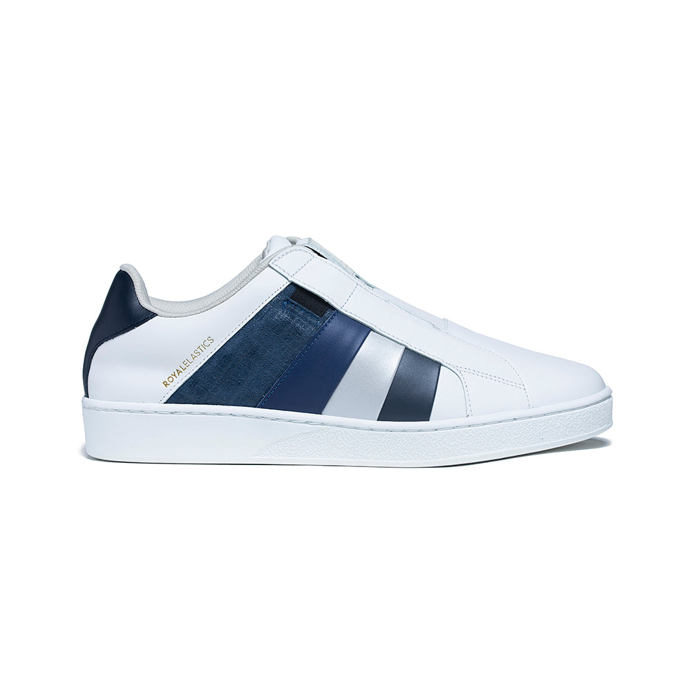 Men's Prince Albert White Blue Leather Sneakers 01494-558