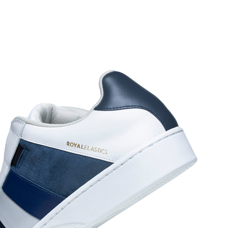 Men's Prince Albert White Blue Leather Sneakers 01494-558 - ROYAL ELASTICS