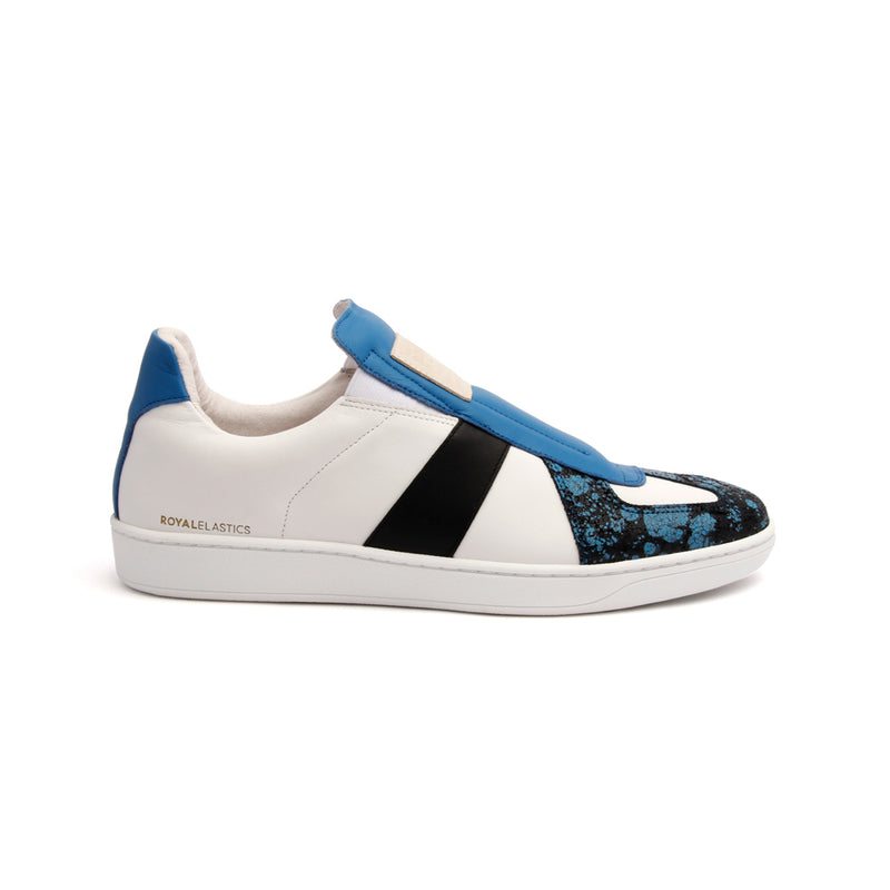 Men's Smooth White Blue Black Leather Low Tops - ROYAL ELASTICS