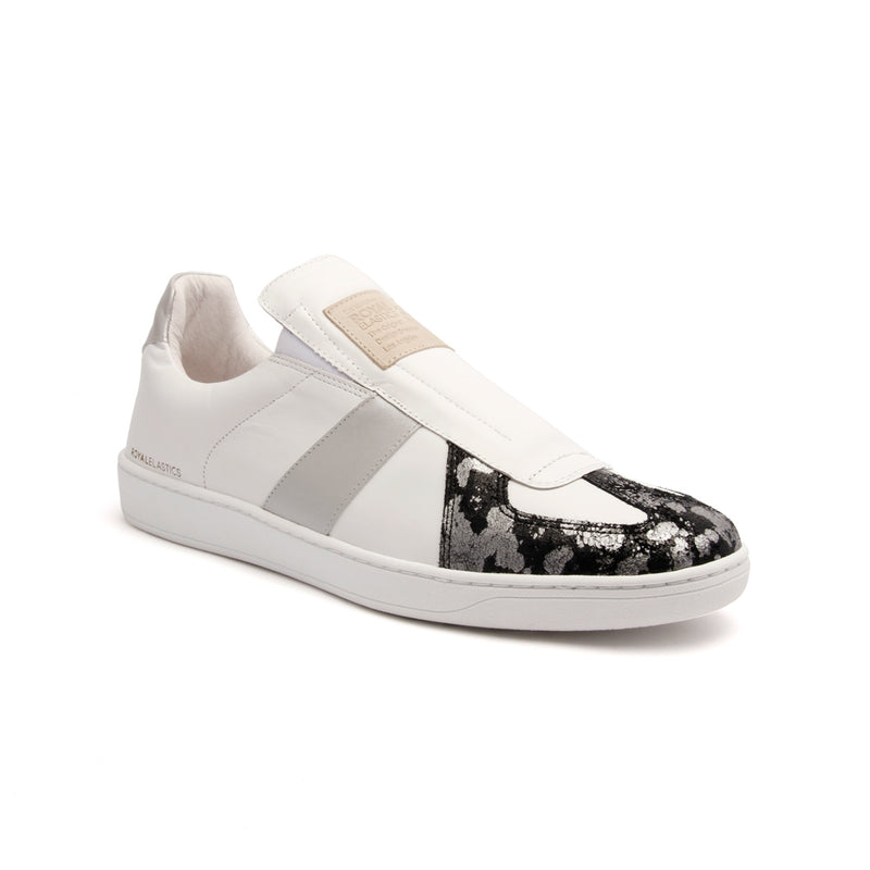 Men's Smooth White Silver Black Leather Low Tops 01583-089 - ROYAL ELASTICS