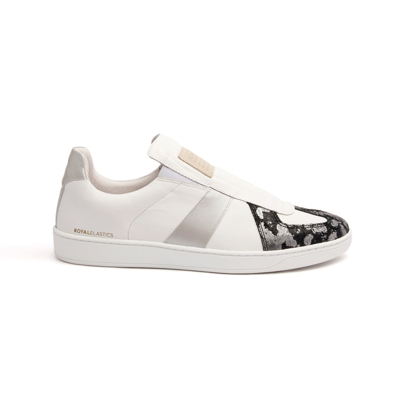 Men's Smooth White Silver Black Leather Low Tops - ROYAL ELASTICS