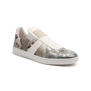 Men's Smooth White Gray Silver Leather Low Tops 01583-880 - ROYAL ELASTICS