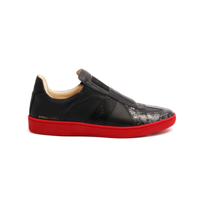 Men's Smooth Black Red Leather Low Tops - ROYAL ELASTICS