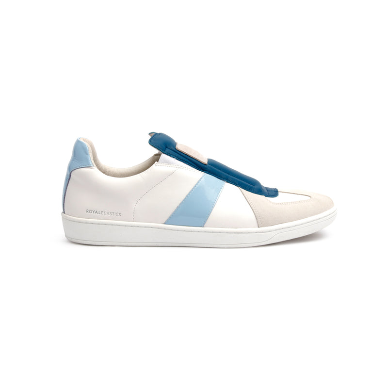 Men's Smooth White Blue Leather Low Tops - ROYAL ELASTICS