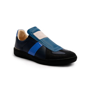 Men's Smooth Blue Black Leather Low Tops 01584-559 - ROYAL ELASTICS