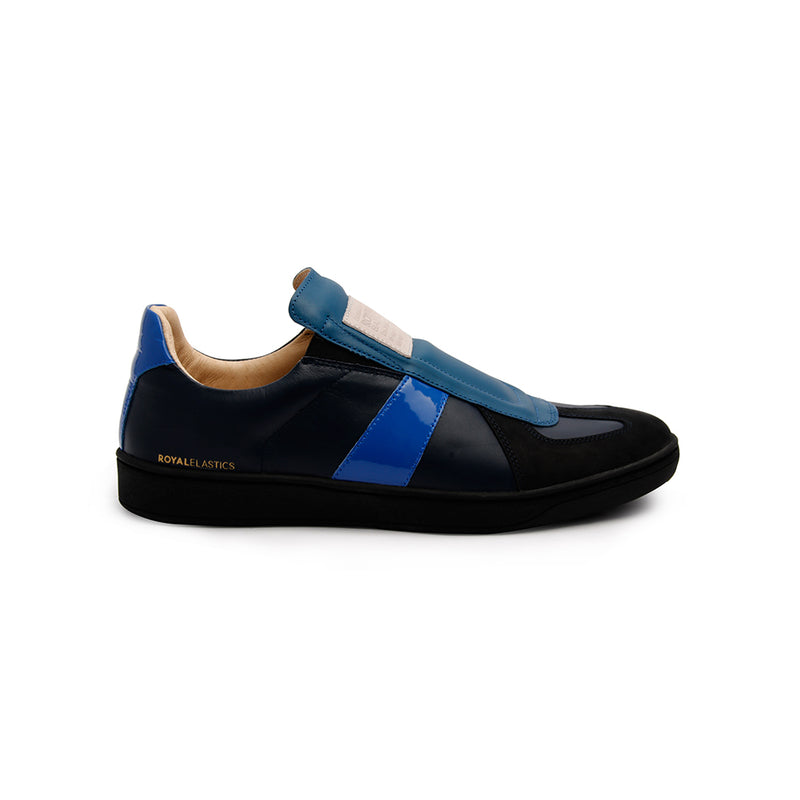 Men's Smooth Blue Black Leather Low Tops - ROYAL ELASTICS