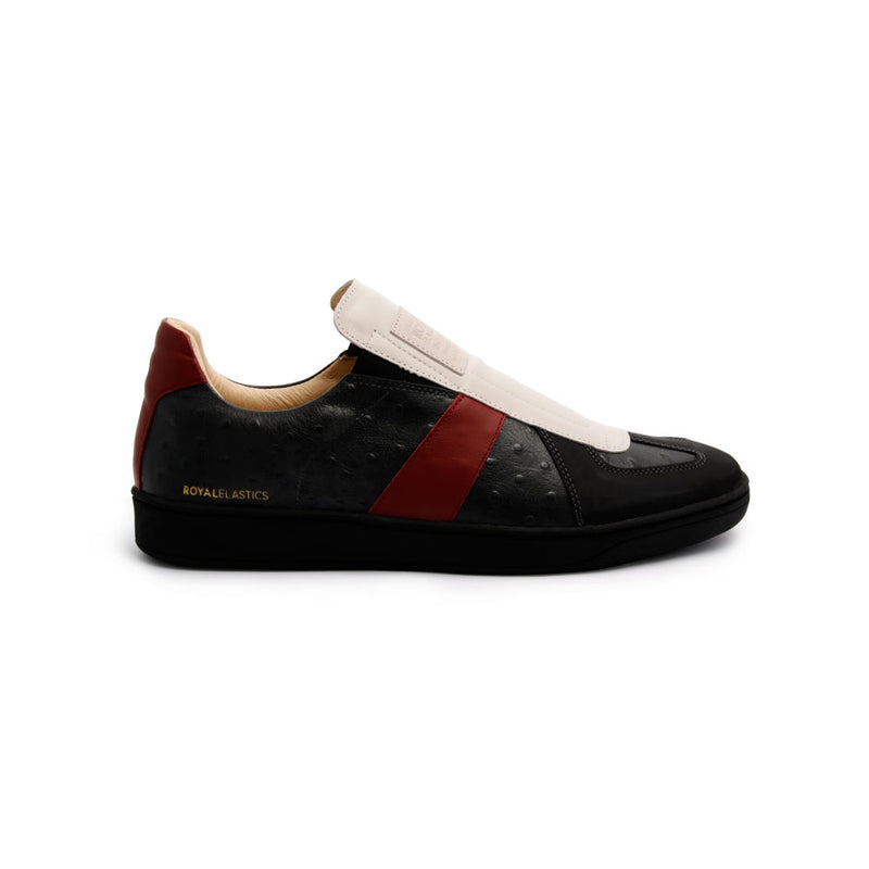 Men's Smooth Black Red Leather Low Tops