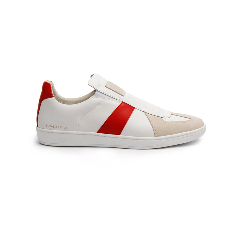 Men's Smooth White Red Leather Low Tops - ROYAL ELASTICS