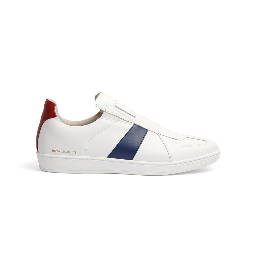 Men's Smooth White Blue Red Leather Low Tops 01593-051 - ROYAL ELASTICS