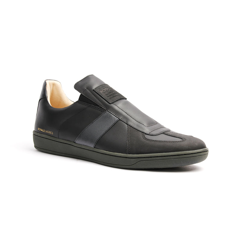 Men's Smooth Black Leather Low Tops 01593-999 - ROYAL ELASTICS