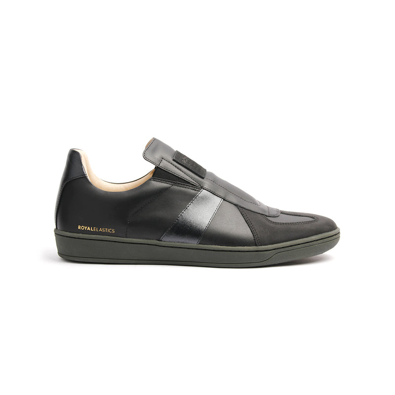 Men's Smooth Black Leather Low Tops 01593-999