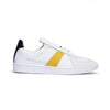 Men's Smooth White Yellow Black Leather Low Tops 01594-039
