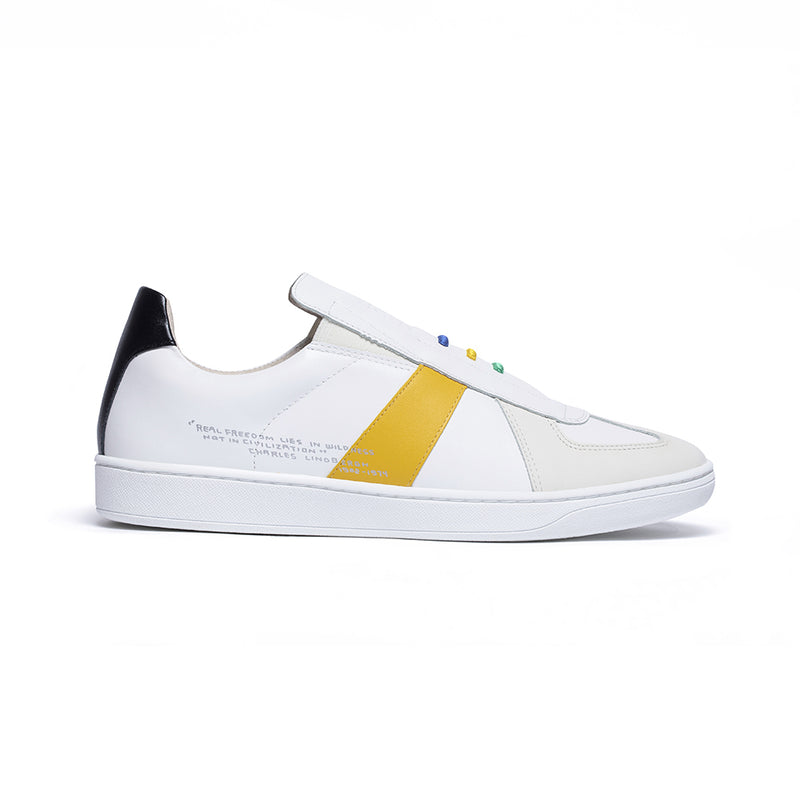 Men's Smooth White Yellow Black Leather Low Tops 01594-039 - ROYAL ELASTICS