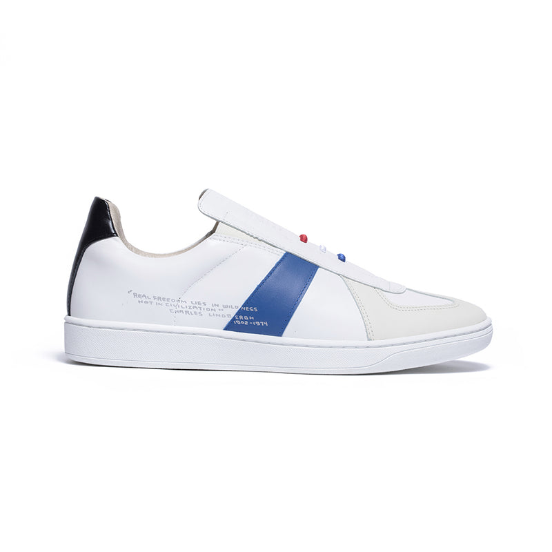 Men's Smooth White Blue Black Leather Low Tops 01594-059