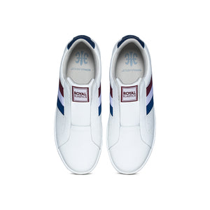 Men's Bishop White Red Blue Leather Sneakers 01702-015