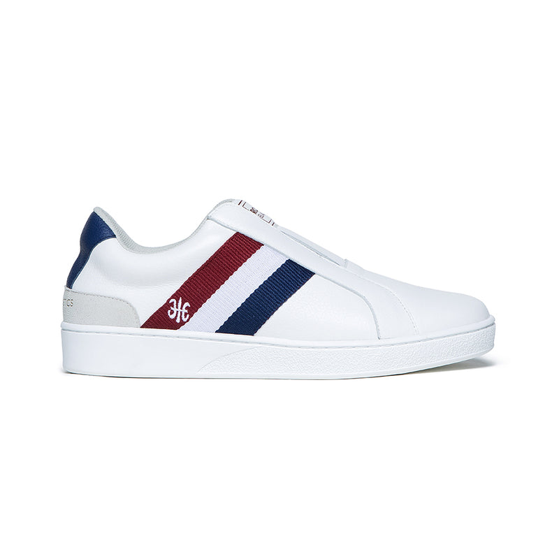 Men's Bishop White Red Blue Leather Sneakers 01711-015