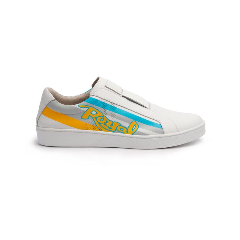 Women's Bishop Color Line Yellow Gray Blue Leather Sneakers 91791-053 - ROYAL ELASTICS