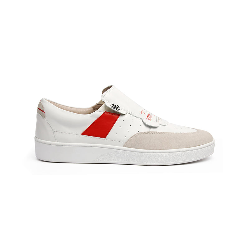 Women's Pastor White Red Leather Sneakers 91891-001