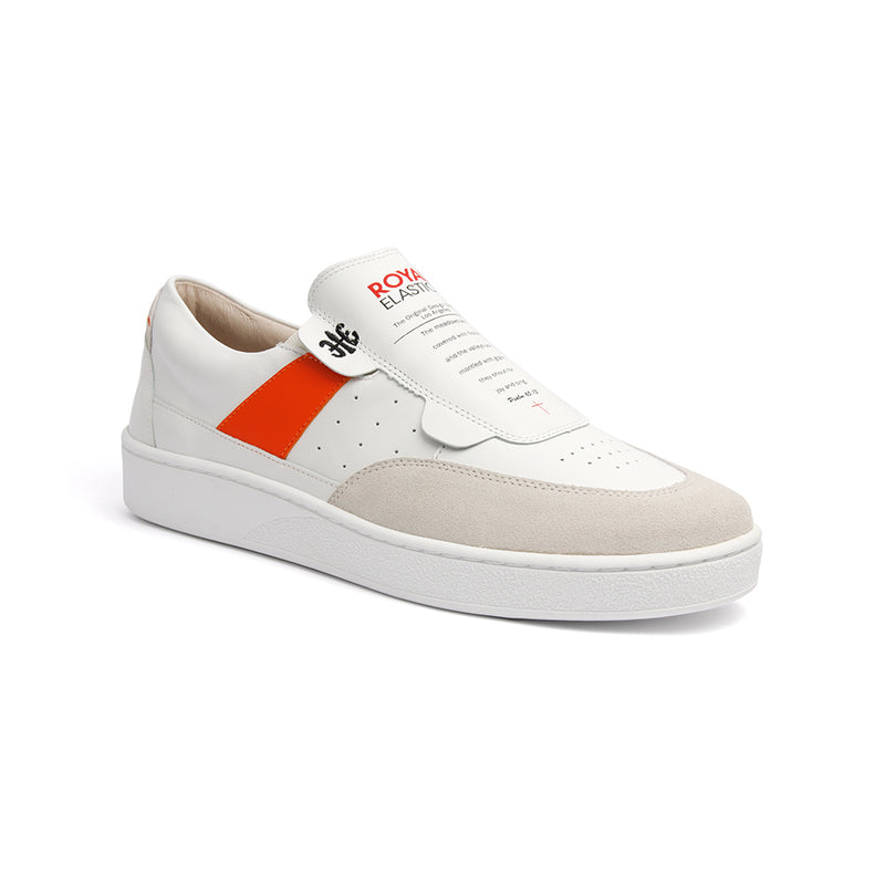 Men's Pastor White Orange Leather Sneakers 01891-002 - ROYAL ELASTICS