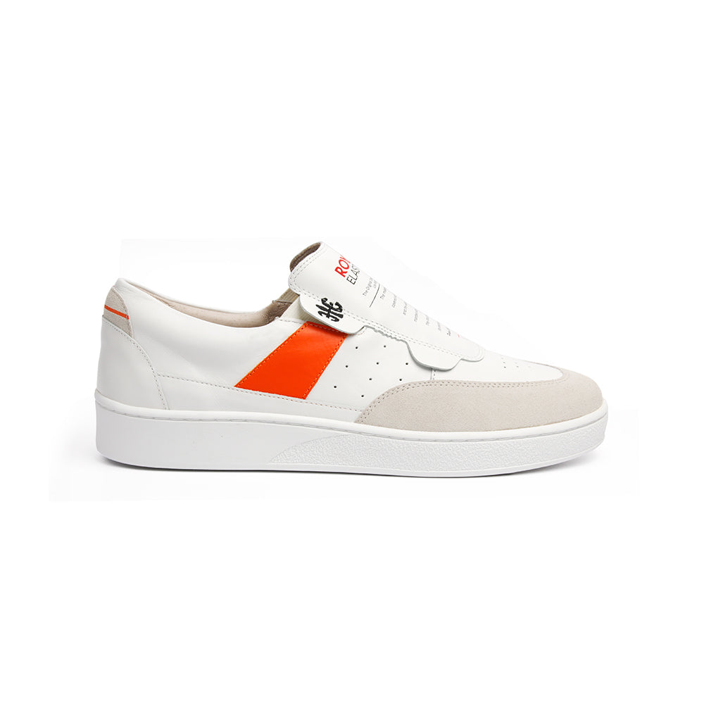 Women's Pastor White Orange Leather Sneakers 91891-002