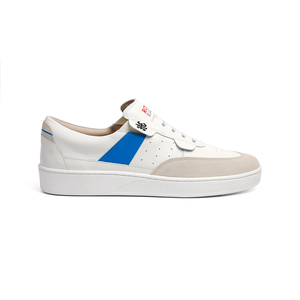 Men's Pastor White Blue Leather Sneakers 01891-005 - ROYAL ELASTICS