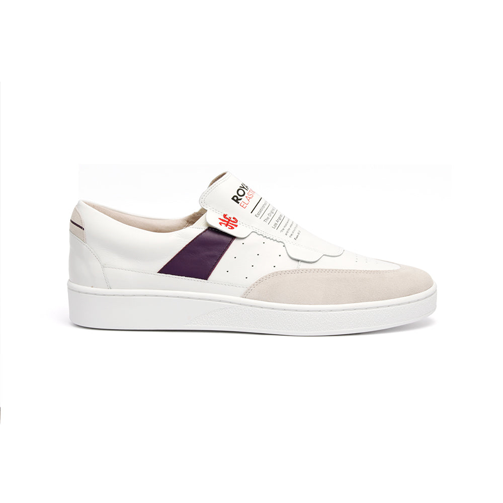 Men's Pastor White Purple Leather Sneakers 01891-006 - ROYAL ELASTICS