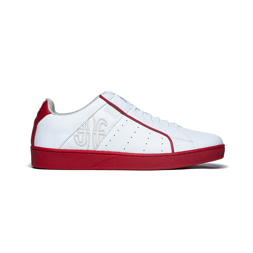 Men's Icon Genesis White Red Leather Sneakers 01901-001