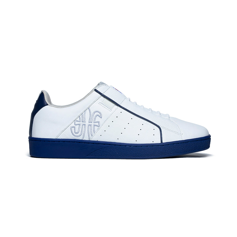 Men's Icon Genesis White Blue Leather Sneakers 01901-005