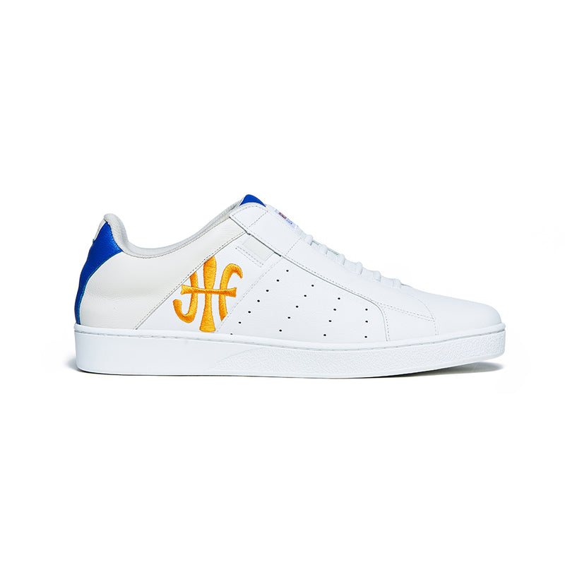 Men's Icon Genesis Blue Yellow Logo Leather Sneakers 01902-025