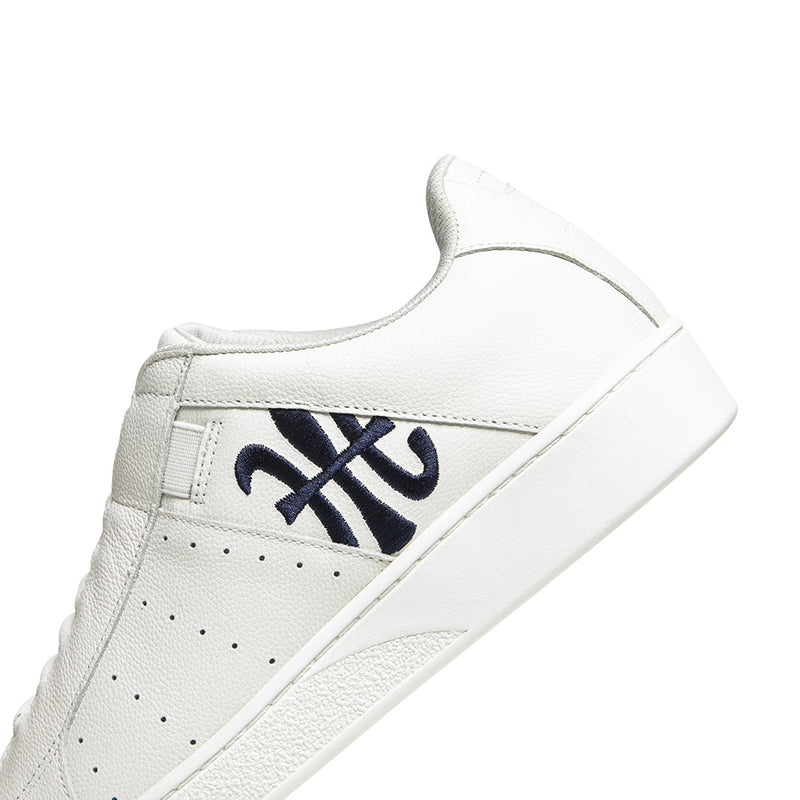 Men's Icon Beige Navy Logo Leather Sneakers 01903-005