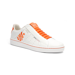 Men's Icon Genesis Color Bar White Orange Leather Sneakers 01992-020