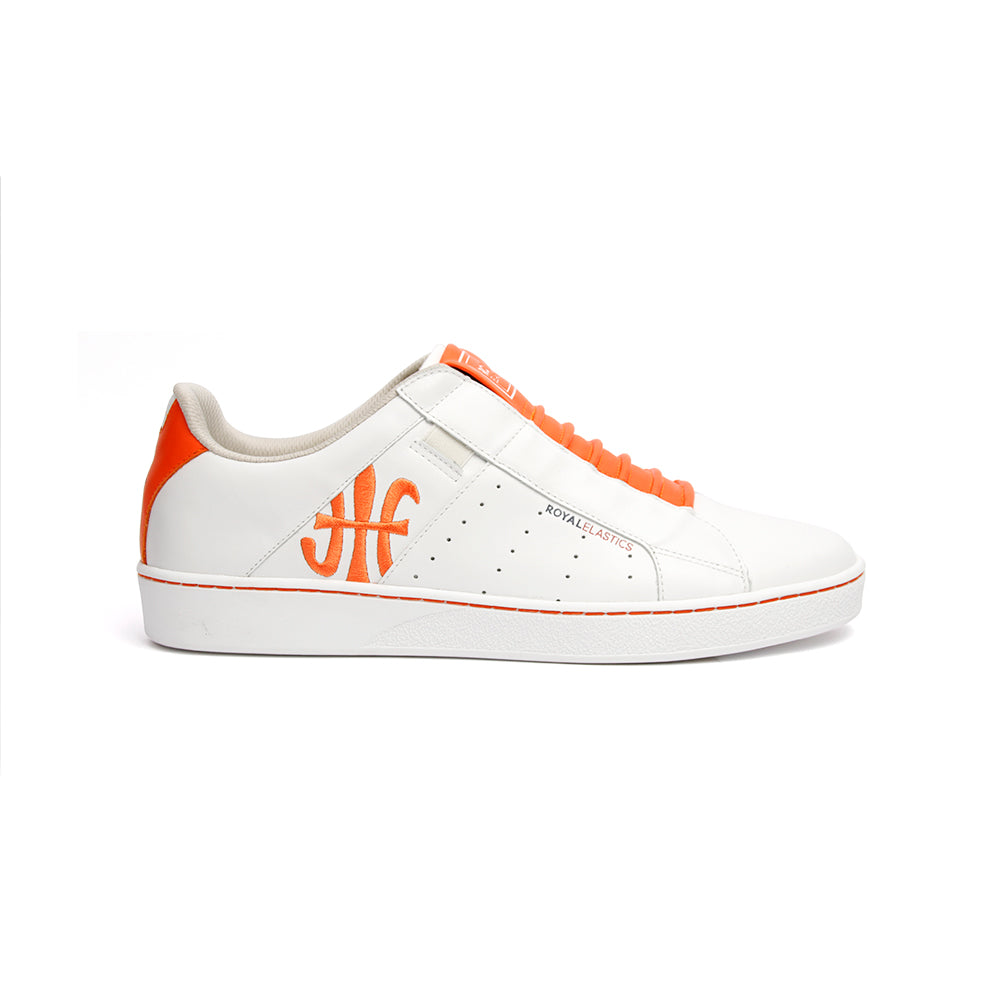 Men's Icon Genesis Color Bar White Orange Leather Sneakers 01992-020 - ROYAL ELASTICS