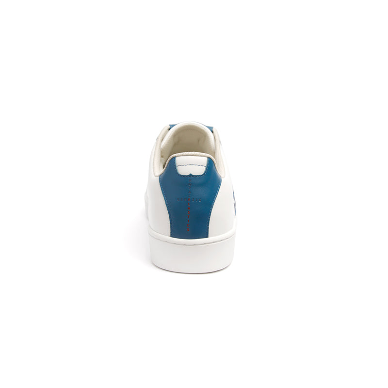 Men's Icon Genesis Color Bar White Blue Leather Sneakers 01992-050 - ROYAL ELASTICS