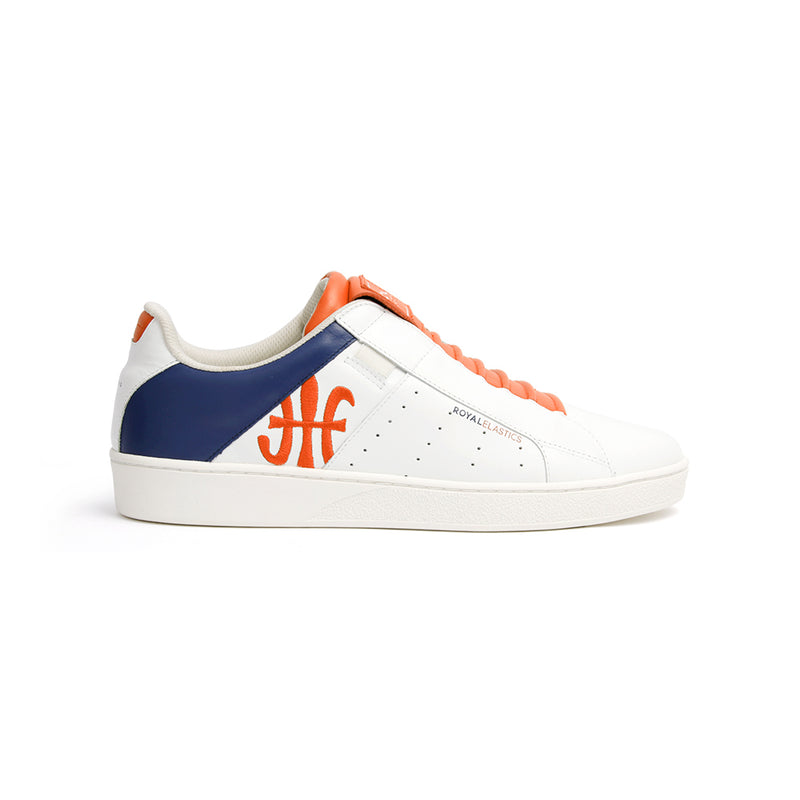Men's Icon Genesis White Blue Orange Leather Sneakers 01993-015 - ROYAL ELASTICS