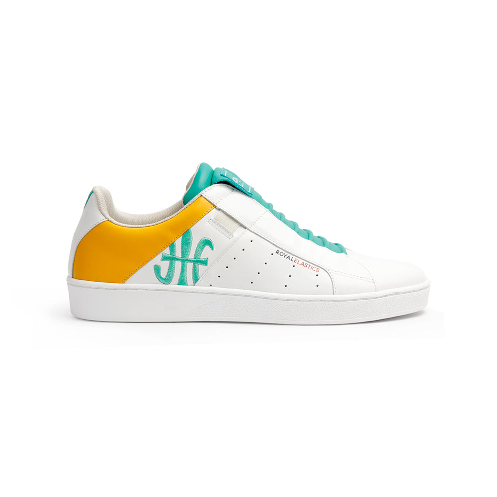 Men's Icon Genesis Spotlight White Green Orange Leather Sneakers 01993-043 - ROYAL ELASTICS