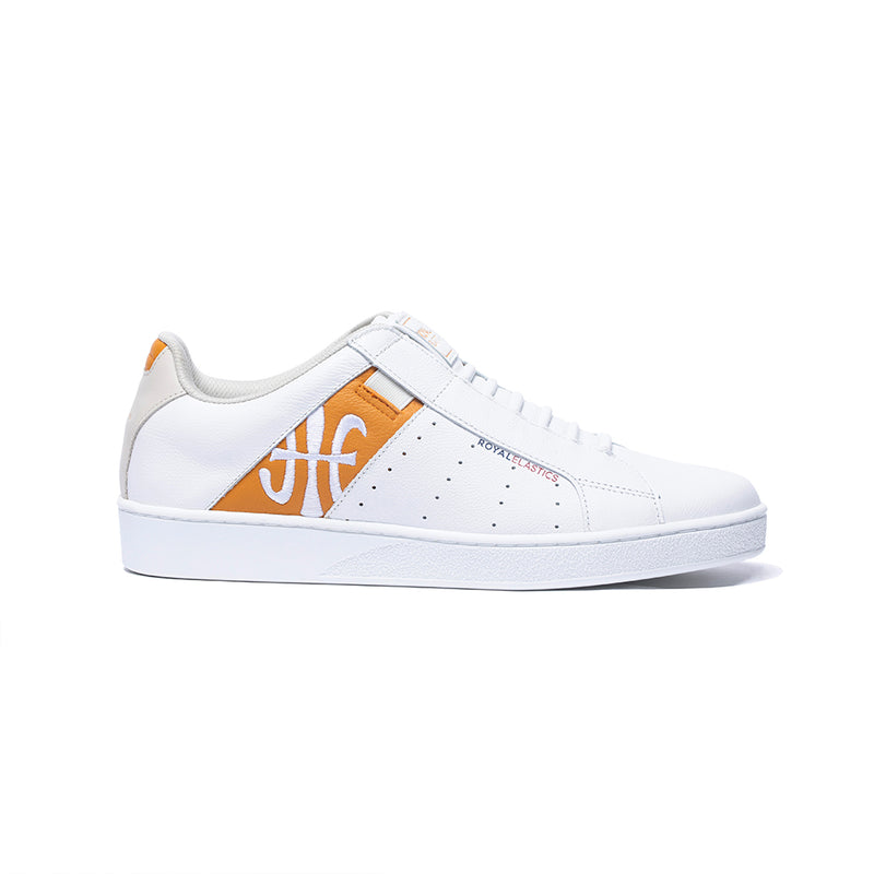 Men's Icon Genesis White Orange Leather Sneakers 01994-020 - ROYAL ELASTICS