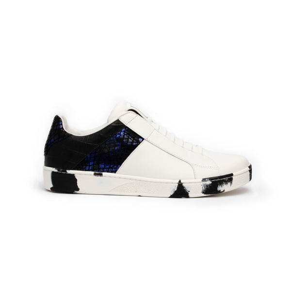 Men's Icon Deejay White Blue Black Leather Sneakers 02082-059