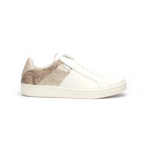 Men's Icon Deejay White Beige Gold Leather Sneakers 02082-088