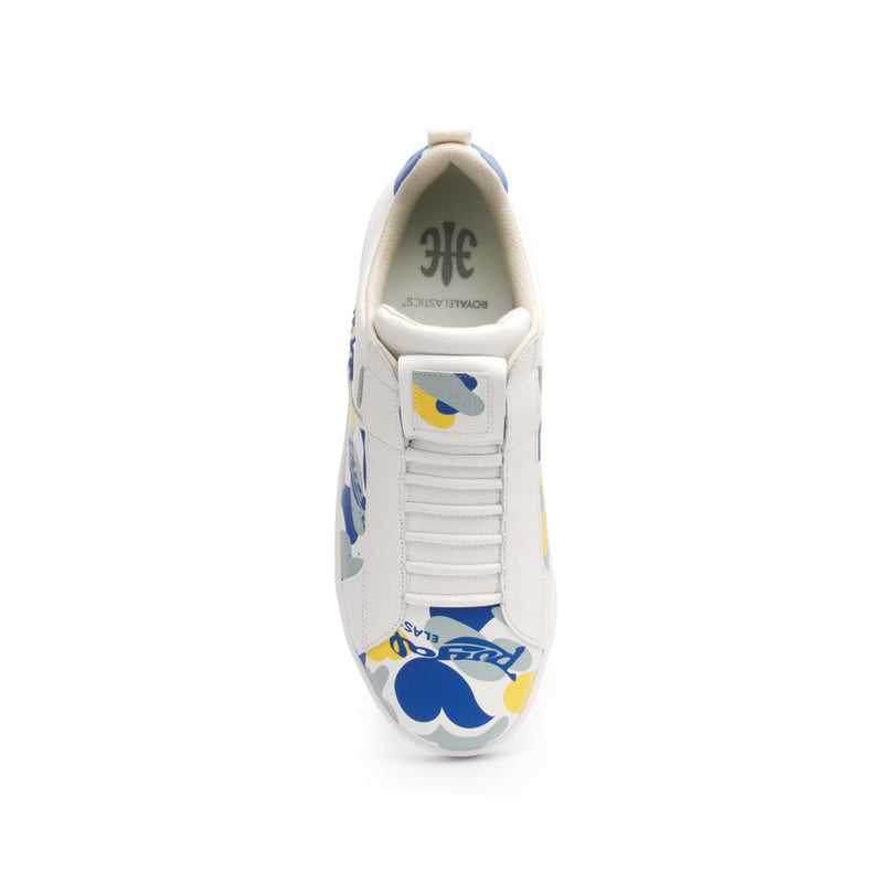 Men's Icon Manhood Camouflage White Yellow Blue Leather Sneakers 02091-053 - ROYAL ELASTICS