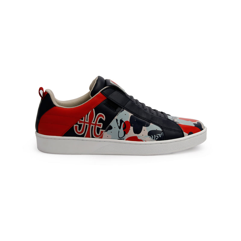 Men's Icon Manhood Camouflage Blue Red Gray Leather Sneakers 02091-818 - ROYAL ELASTICS