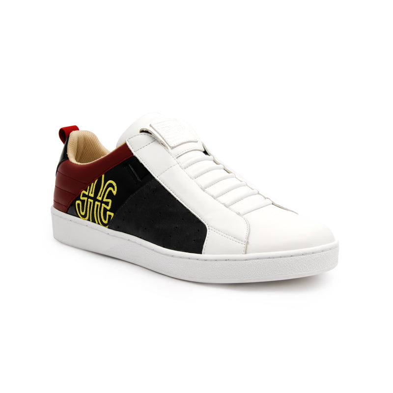 Men's Icon Manhood White Maroon Black Leather Sneakers 02091-891 - ROYAL ELASTICS