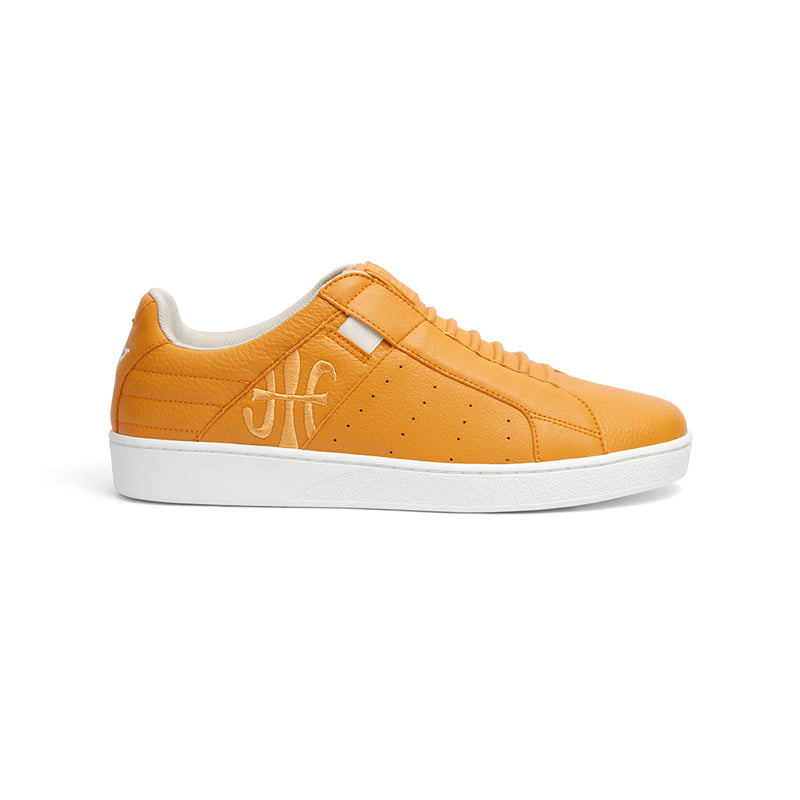 Men's Icon Classic Orange White Leather Sneakers 02092-222