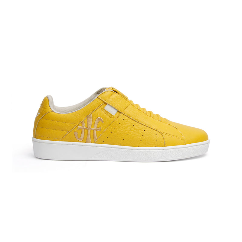 Men's Icon Classic Yellow White Leather Sneakers 02092-333
